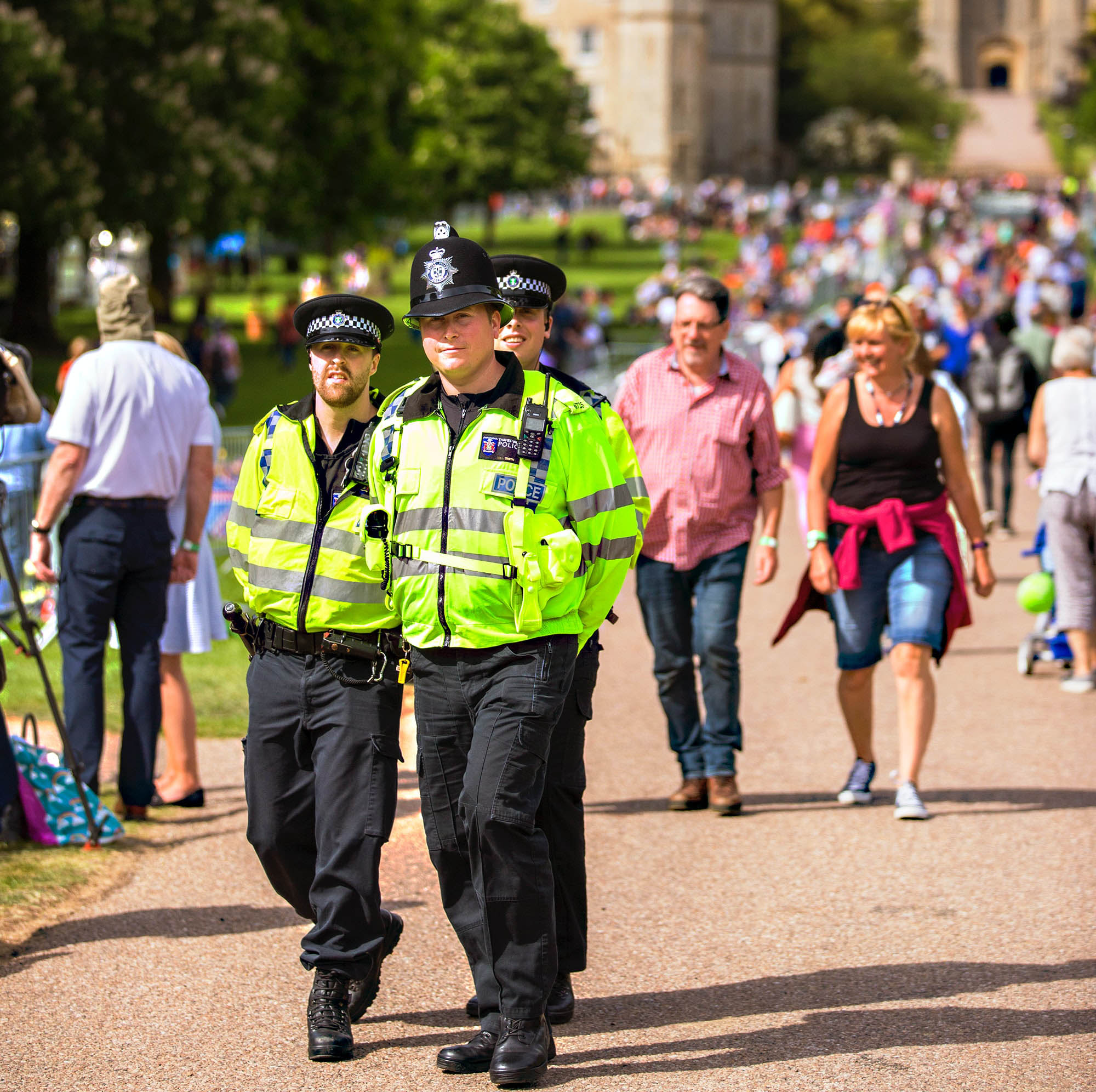 Police patrolling streets, public security and defense workers